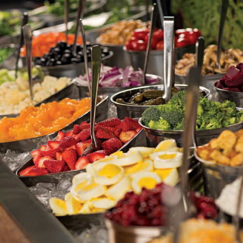 huge salad bar, group dining