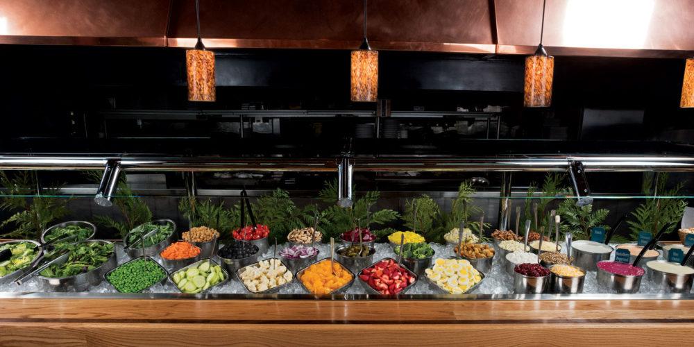 salad bar, dining, buffet, steak, seafood