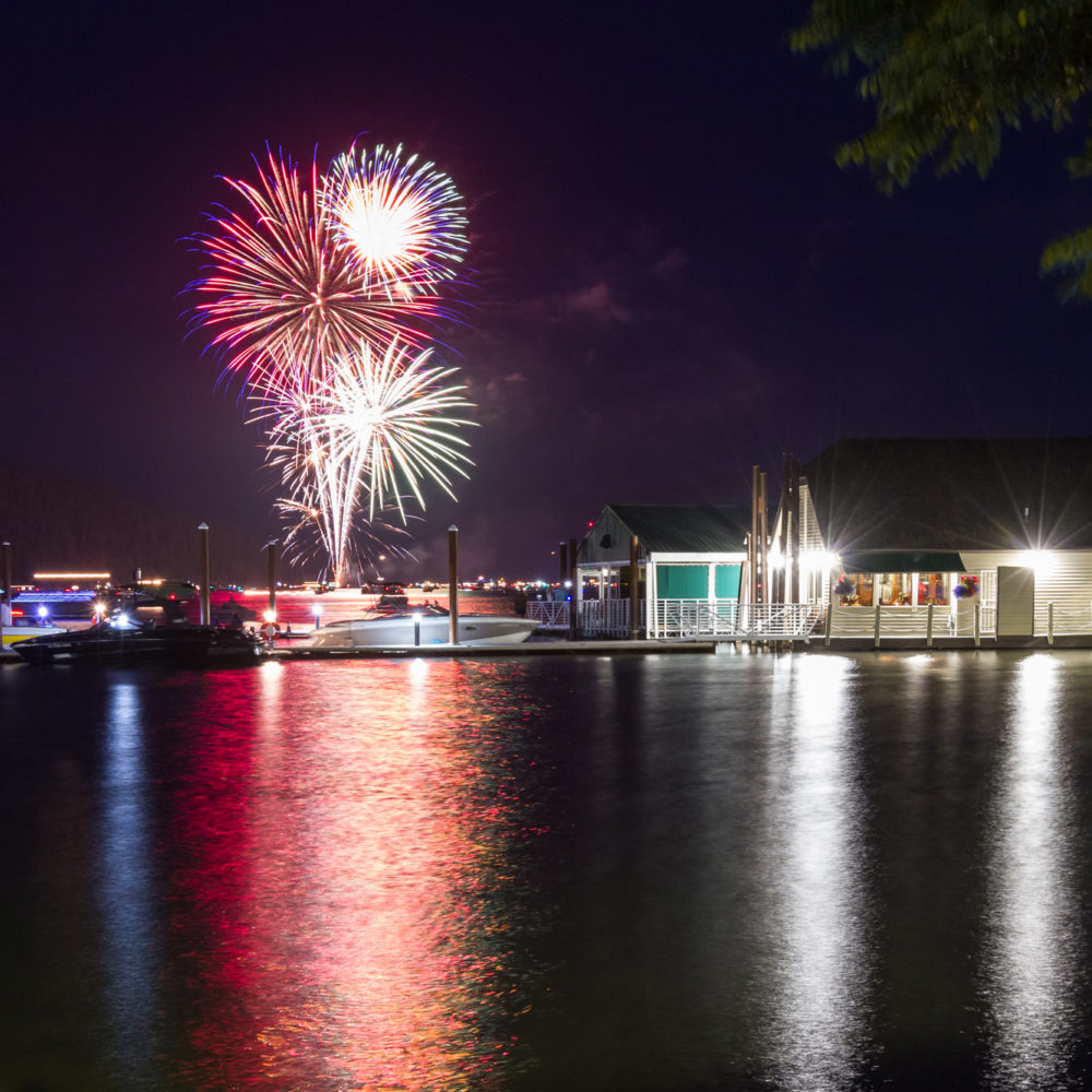 restaurant with dock, fireworks
